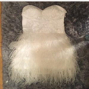 Bebe white feather dress size XS
